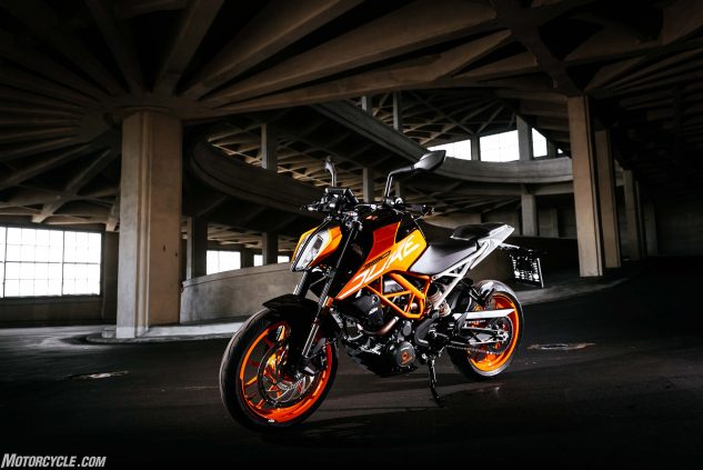 2017 KTM 390 Duke on Fiat car factory spiral ramp