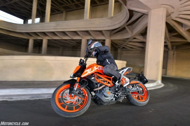 2017 KTM 390 Duke going down spiral ramp