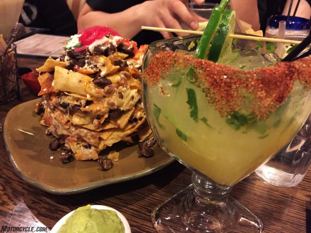 At Guy Fieri's El Burro Burracho (drunken donkey) inside Harrah's in Laughlin, NV, Trash Can Nachos are an appetizer favorite. Gigantic, two-hands-necessary Pineapple Habanero Margarita is an excellent pairing. If not obvious, this is homage to the eat, drink, be merry part of the EagleRider experience.