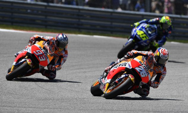 Dani Pedrosa and Marc Marquez secured their first podiums of the season. Valentino Rossi scored his third to take over the championship lead.