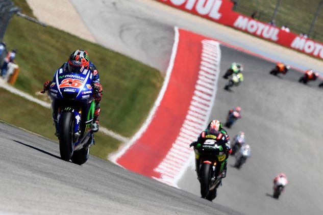 Maverick Viñales' race was over after just two laps, his first mistake of his career at Yamaha.