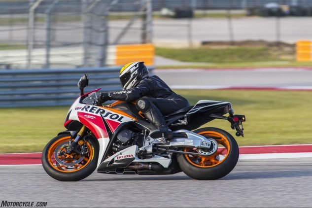"""To be perfectly honest I didn't realize HJC had sent me its latest and greatest until I was riding a CBR1000RR down the long back straight at COTA the other day, and noticed as I was hunkered down """"behind the Perspex bubble,"""" as the old Brit announcers used to constantly announce, I could totally see where I was going thanks to the new higher eye port. Which is nice when you're going that fast and not sure exactly which is the right direction. The helmet is super-snug and stable in 150-mph breezes too."""
