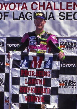Winning a Superbike national is great, but winning one on your home track is the best (Laguna Seca, now known as Mazda Raceway).