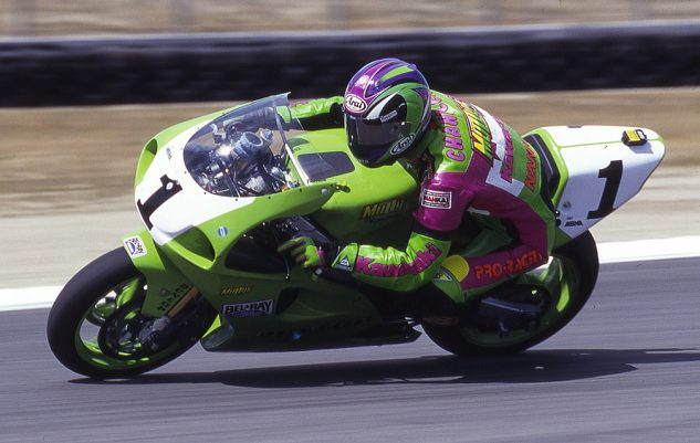 A familiar sight: Chandler riding for Muzzy Kawasaki, wearing the number-1 plate.