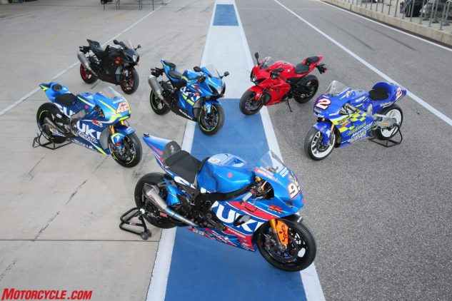 Suzuki's old and new. Suzuki's rich racing heritage goes beyond the similar color scheme on the new GSX-R1000, the technology developed in racing – like variable valve timing – has trickled down directly to its production sportbike.