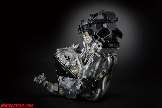 Modern sportbike engines are a feat of technological marvel, but the GSX-R1000 engine is impressive because of its simplicity. Narrower and more powerful than before, Suzuki says its variable valve timing technology has been used in racing since the mid-2000s without any reports of failure.