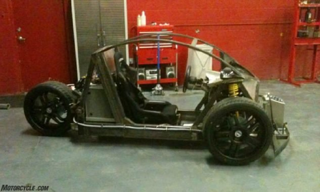 "Vanderhall's first prototype in 2010 was a single-seater, chain-driven ruffian that was admittedly ""not stable in corners,"" but it was powered by a Kawasaki ZX-10 motor."