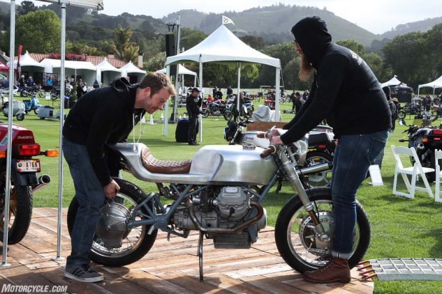 Morning prep; placing a Moto Guzzi custom into its proper place.