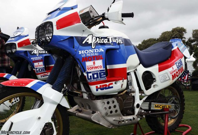 A pair of the original Honda Africa Twins, designed to win the grueling Dakar endurance race.