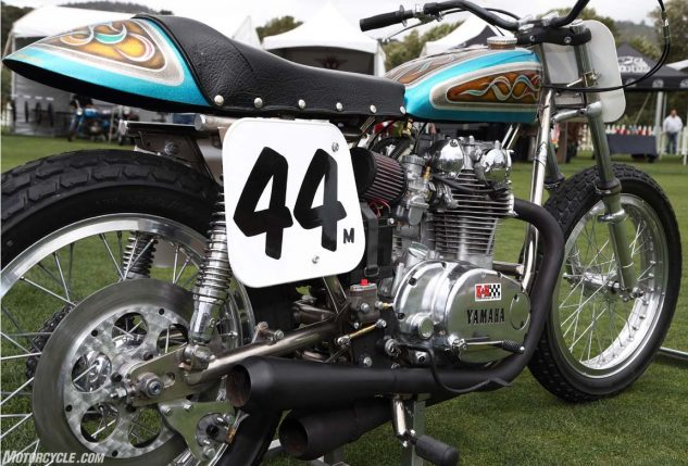 A Yamaha XS650-based flat tracker, complete with psychedelic 1970s paintwork.