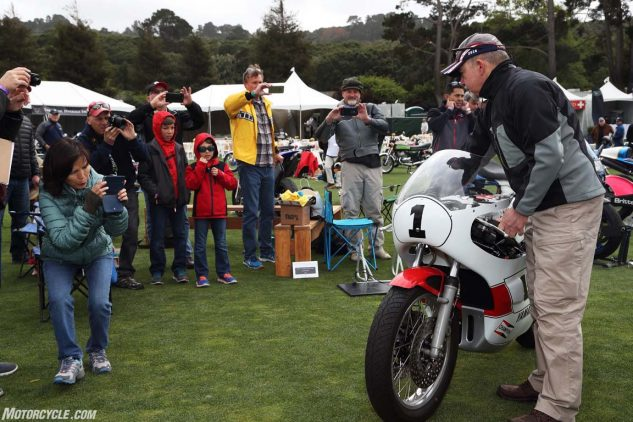Fire up your race bike and draw an instant crowd.