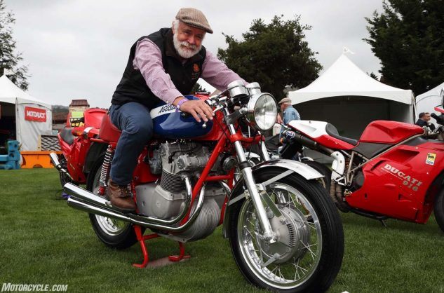 Robb Talbott, founder of the world famous MotoTalbott museum in nearby Carmel Valley, on his MV Agusta 750S.