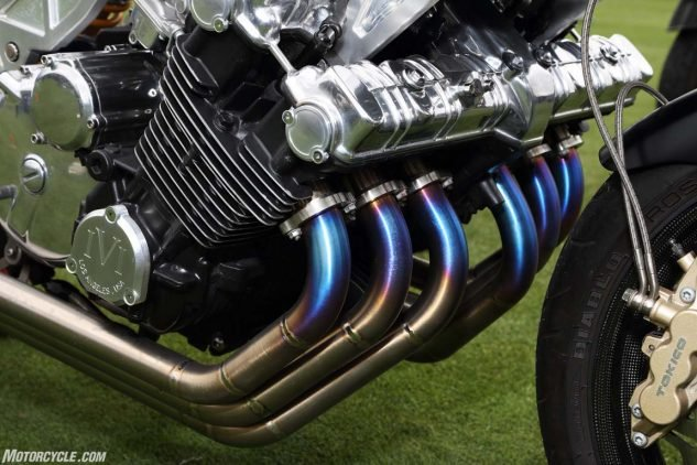 A spectacular set of titanium pipes on a custom Honda CBX.