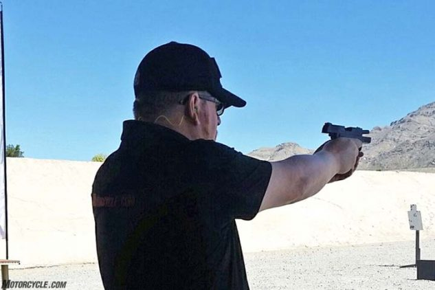 Verticalscope Powersports Editorial Director Sean Alexander tries his hand at the new Springfield Armory XDe 9mm pistol while in Las Vegas. Our thanks go out to Springfield for inviting us on their press launch.