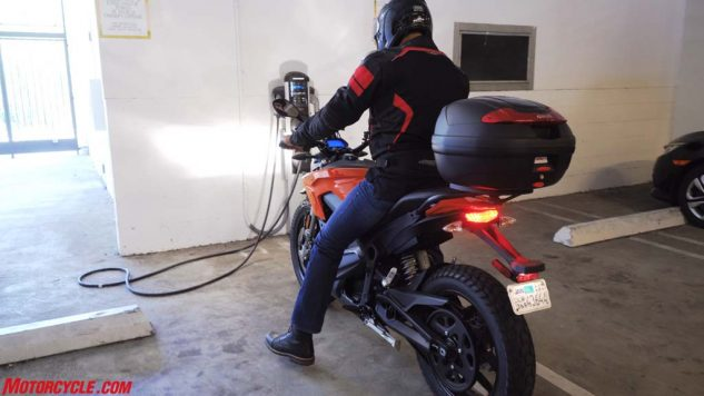 Abbasi's stress levels were high as he rode the DS several miles with the battery gauge flashing 00%. Fortunately, he was able to ride the Zero to this charging station under its own power.