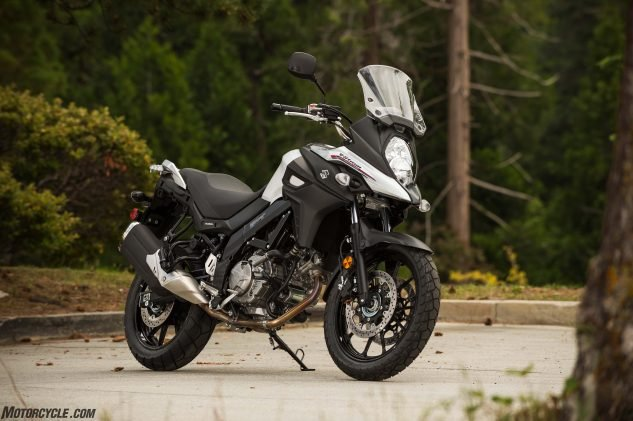 … and the base model, in Glacier White with 19- and 17-inch cast wheels (lighter than before) for $8,799. Both roll on the same Bridgestone dual-sport tires.
