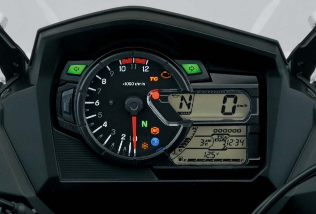 The new dash is much like the one on the V-Strom 1000, including its traction-control monitor. There's also a big gear-position indicator, trip computer, freeze warning, etc.... the 12-volt cigarette lighter plug is just off to the left; charging output is 390 watts at 5000 rpm.