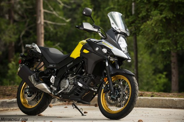 Actually there are two V-Strom 650s: this is the XT, which comes with tubeless wire-spoke wheels, handguards and a black plastic lower engine cowl, for $9,299…