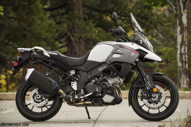 Your base model V-Strom 1000 makes do with lighter, 10-spoke cast wheels. With an MSRP of $12,699, it's $600 less than the base Honda Africa Twin and $300 less than a Kawasaki Versys 1000 LT. Suzuki says FEM analysis allowed the new twin-spar frame to be 13% lighter than before, while a subtle restyle gives a cleaner look.