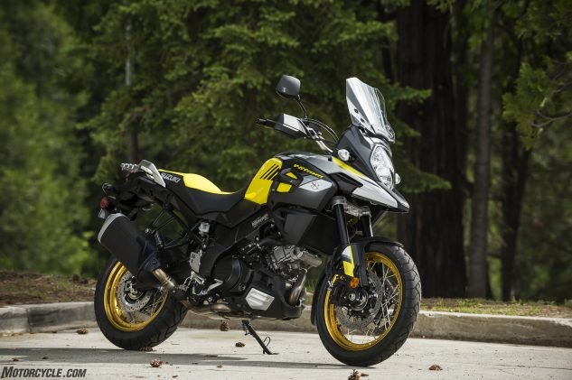 Did somebody say wire-wheel adventurers? The new V-Strom 1000XT gets new tubeless wire wheels, hand guards and a mostly cosmetic plastic engine cowl for $12,999.