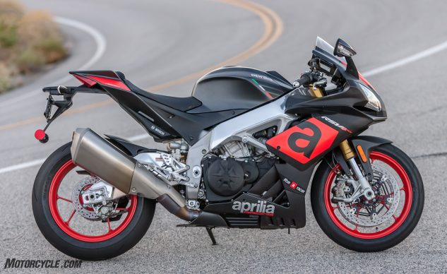 The profile of the Aprilia RSV4 hasn't changed much since its introduction, but the bike's performance has increased substantially. For the ultimate expression of Aprilia's RSV4, look to the the RF model ($23k), or the exclusive FW-GP version, which, if you can afford it, would look wonderful parked next to your RC213V-S.