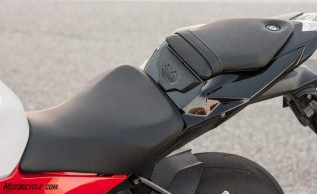 Take a gander at what is arguably one of the most comfortable seats in all of sportbikedom, with padding that is a magical combination of comfort and support. For the passenger, probably not so much, but, let's be honest, these bikes aren't built with passengers in mind.