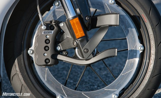 For street use the EBR's trend-bucking single, large, rim-mounted disc, and reverse caliper provide suitable braking performance.