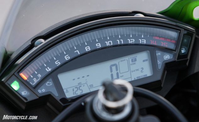 "The Ninja's gauges are dated when compared to the full-color TFT displays of some of its competitors, but the rainbow tachometer sweeping across the top of the cluster is one of the most easily visible tachs here. ""I love its big bar graph tach; it's the only one I ever have time to look at,"" says Burns."