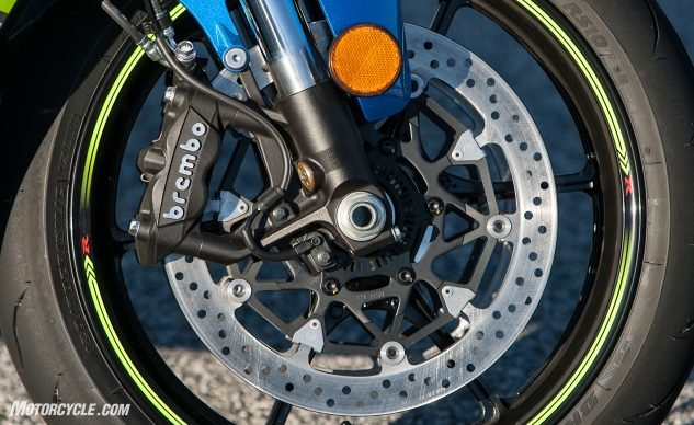 They're not our beloved M50 calipers, but they are Brembo monoblocks, and none of the testers complained about the stopping performance of the Suzuki.