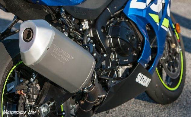 It's nearly impossible to walk by the right side of the Suzuki and not wonder why the muffler appears to be three sizes too big. Yoshimura probably likes this.