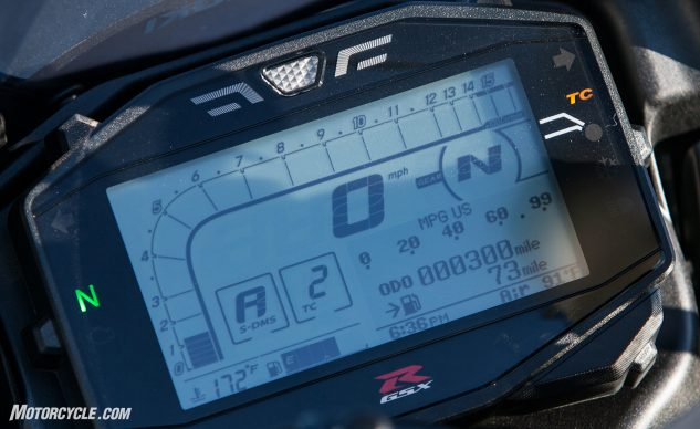 The Suzuki's digital display is one of the only non-color instrument clusters of the group, but it boasts the largest screen of them all. The Kawasaki at least has that color tachometer that's easy to see, even peripherally.