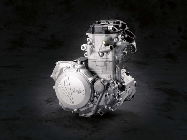 The 2018 Yamaha YZ450F engine has received a complete redesign with the goal of attaining more controllable low- to mid-range power and a longer, stronger top-end pull.