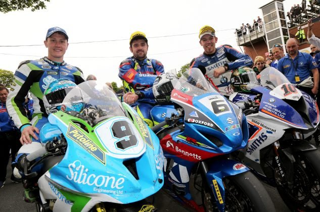 Dean Harrison, Michael Dunlop, Peter Hickman, the top three in the Senior TT. Photo by: IOMTT.com