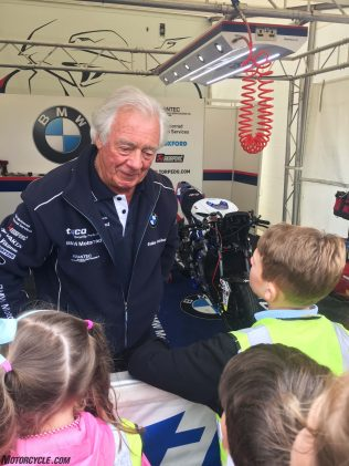 Hector Neill, owner of the TAS Racing, Tyco BMW team, taking questions from Manx student journalists.
