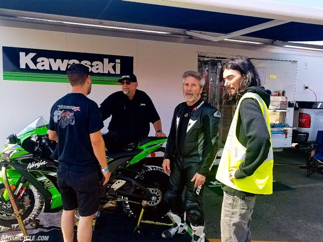 Kawasaki Whisperer Joey Lombardo (talking to Aprilia guy Shane Pacillo) has an espresso-dispensing rolling hardware store along with all the latest helpful hardware hints.