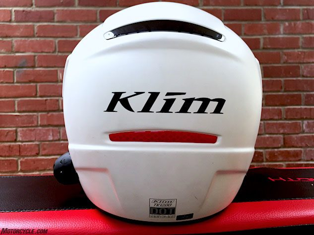 The rear of the helmet features a reflective insert, as well as reflective accents in the rear of the neck roll and in the chin curtain. The TK1200 meets both DOT and ECE 22.05 safety certifications but not Snell.