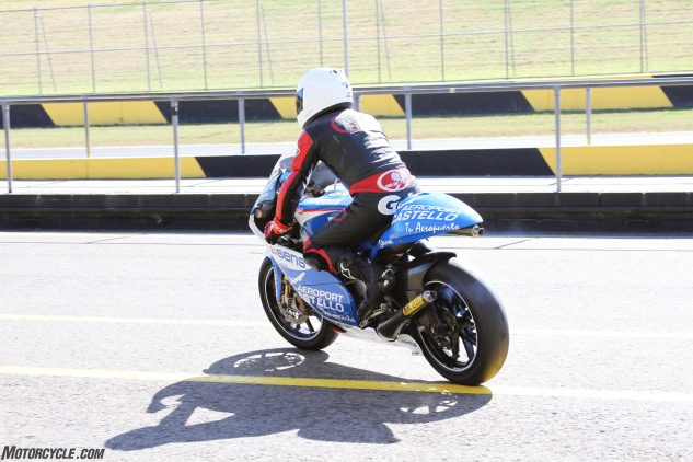 Six times Australian 125 GP Champion and ex-World 125 GP rider Peter Galvin was extremely fast on the bike and loved every second of his sessions.