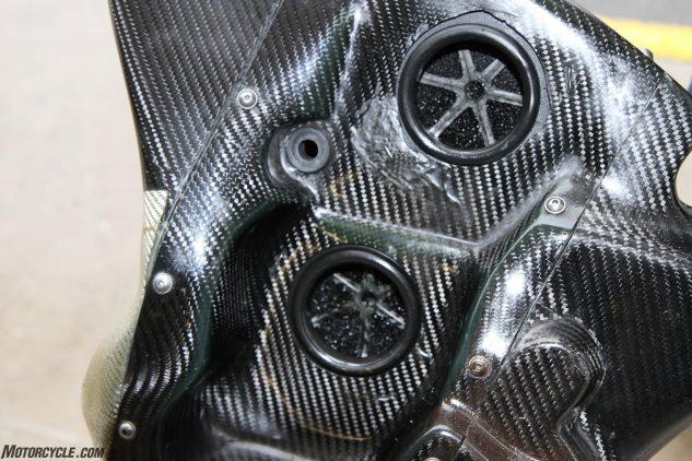 This is the inside of the airbox. It is mounted on the right-hand side of the bike and is an absolute work of art. it would want to be for ten grand.
