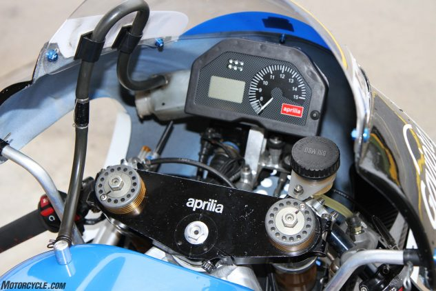 This is the proper factory dash that is as high tech as anything on a modern street sportbike. The machine has full telemetry and even traction control.