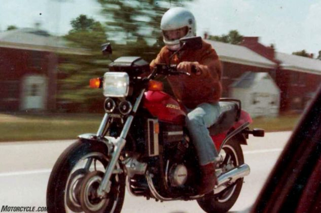 Garden variety motorcycle sports togs circa 1982, and still suitable gear today in some circles. My current visor has more vents than that Bell M-1 helmet.