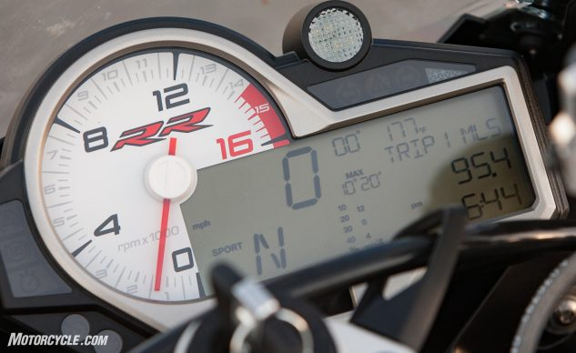 The S1000RR's age can be seen in its gauges. The information conveyed is easily legible, but the aging cluster needs replacing if the BMW is to maintain its status as a premier European sportbike.