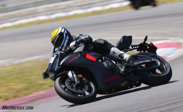 The new CBR1k is a working example of the old adage, light makes right. As well as the Honda performed at a high-speed track such as Auto Club Speedway, it'd really shine at a tight, twisty venue such as Barber Motorsports Park.