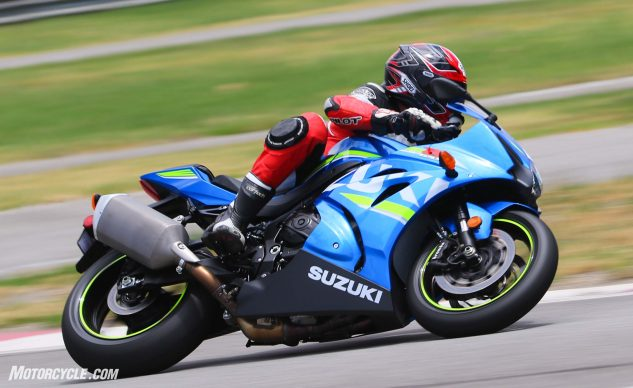 """At 444 pounds fully fueled the GSX-R1000 is the third lightest bike in the shootout, and only three pounds heavier than the next lightest bike, Yamaha's YZF-R1. However, the Suzuki feels lighter than it is both on the track and street. The Gixxer was the only bike in this test aside from the EBR that didn't have a quickshifter, a component available on its pricier GSX-R1000R brother as standard along with auto-blipping downshifter. """"Going old-school with clutchless upshifts wasn't a big deal, but it did feel somewhat like a blast from the past,"""" Brasfield opines. """"These are the good old days of motorcycle technology!"""""""