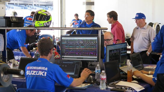 Yoshimura Suzuki had like ten computer techs working on Rog Hayden's and Tony Elias's bikes at CoTA tire test, and they don't even have to pass EPA tests.