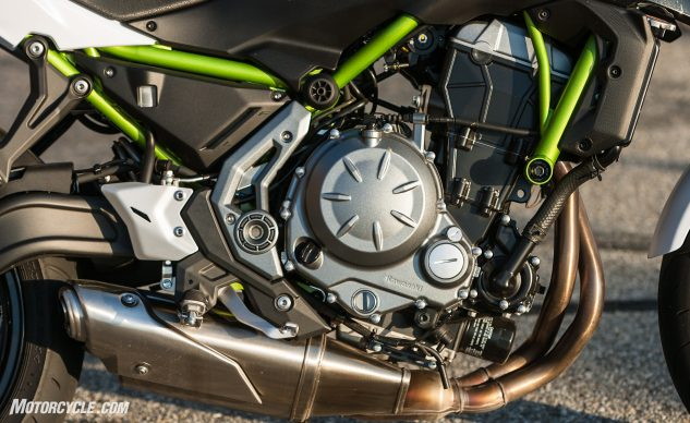 The Versys 650 took a big step forward a couple years ago when Kawasaki gave it rubber front engine mounts; in the Z, that engine's mounted solidly.