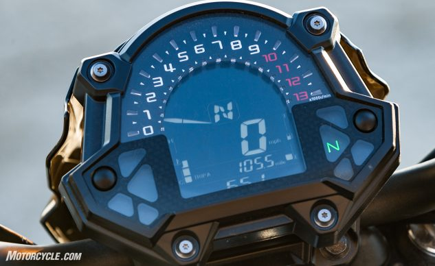 """The LCD """"analog"""" tach reminds me of the clock on my coffee maker. While the SV and FZ keep building power past 10,000 rpm, the Z's rev limiter begins kicking in just past 9k."""