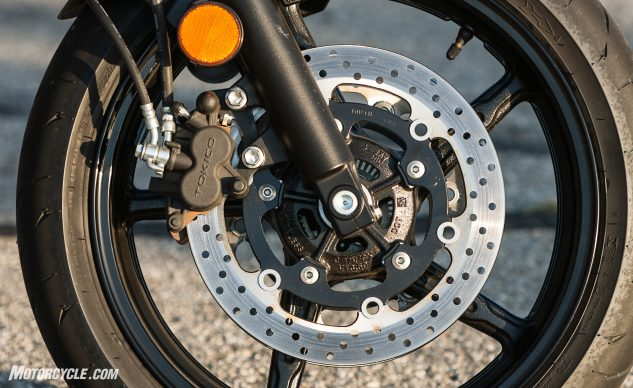 The SV does a lot with what it's got, including two-piston front calipers riding a classic 41mm fork.