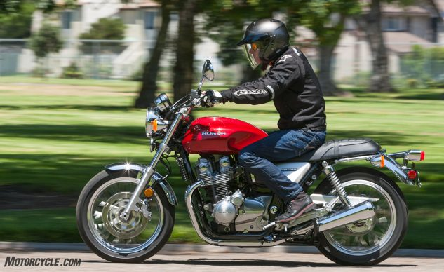 The CB1100EX's ergonomics are comfortable for riders of various sizes. The 4.4-gallon tank is remarkably slim between the knees and now includes an aircraft-style flip-up filler cap. The seat is very comfy, and its flat profile is appreciated by passengers.
