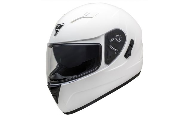 The switch on the right of the visor extends and retracts the ST-17's internal sun visor. The switch makes it easy to lower the visor into position, but retracting it is awkward.