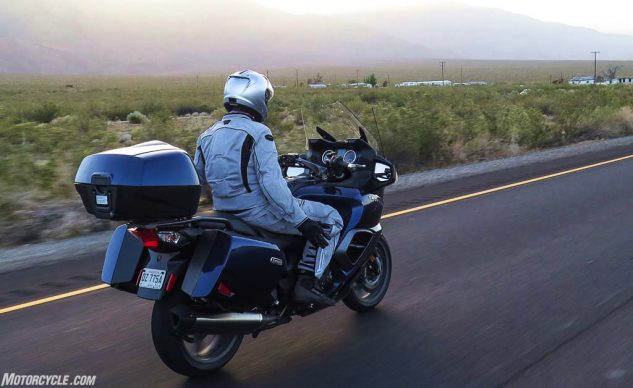 """The Triumph Trophy SE didn't win our last sport-touring comparison – mostly because it leans more toward tourer than sport. The SE comes with a torquey 1215cc Triple, tail trunk, tire-pressure monitors, Bluetooth sound system, cruise control, electronic suspension, heated seats, 12v outlets front and rear, USB port… it's a great choice if you want a """"small"""" (664 lb wet) touring bike."""
